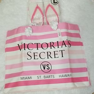 Victoria Secret Pink/White Stripe Bag w/Sandals